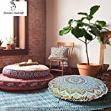 Ganesham Handicrafts- Round Mandala Pillow Throw, Living Room Decor, Boho Decor, Hippie Round Seating Pouf Ottoman, Mandala Floor Pillows With Pom Pom Border Made With Indian Hippie BohemianTapestry