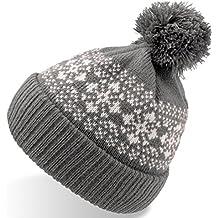 FLAKE GRIGIO cuffia lunga con risvolto long beanie pom-pon cappello  berretto bearnie 442c3ca0f318