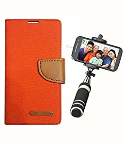 Aart Fancy Wallet Dairy Jeans Flip Case Cover for Nokia620 (Orange) + Mini Fashionable Selfie Stick Compatible for all Mobiles Phones By Aart Store