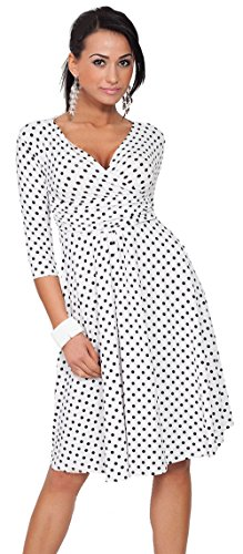 u-shot da donna sexy scollo a V pois banchetto A-Line Swing Dress White