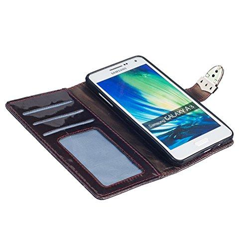 Samsung Galaxy A3 A5 A310(2016) A510 Case,mode, Gitterförmige Muster Glatte Oberfläche Design Folio Pu Ledergeldbeutel Fall Decken Mit Stehen / Card Slot Für Samsung Galaxy A3, A5 A310(2016) A510 ( Co Brown