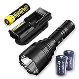 Bundle: Nitecore P30 1000Lm LED Flashlight + UM10 Charger, 1x Nitecore NL183 & 2x FREE Eco-Sensa CR123A Batteries