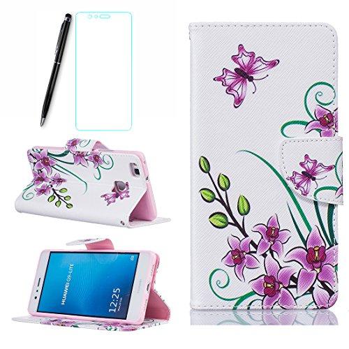 Huawei P9 Lite Hülle Rosa Blume und Schmetterling, Lotuslnn Huawei P9 Lite Leder Tasche Schutzhülle(Hülle+ Stylus Stift+Screen Protector)
