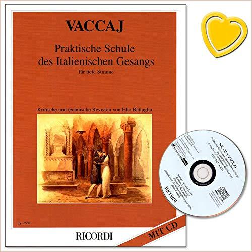 Praktische Schule des Italienischen Gesangs für tiefe Stimme - Revision der Metodo di canto - Notenbuch mit CD und bunter herzförmiger Notenklammer (Sänger Angehende)