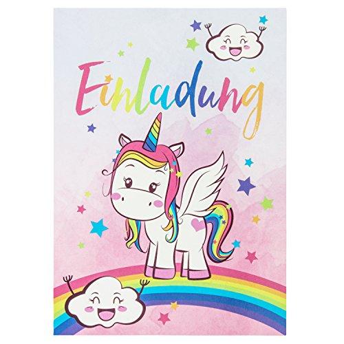 BEYMAX 10 süße Vintage Einhorn-Einladungskarten für den Kindergeburtstag mit Unicorn- mit Regenbogen, Wolken und Sternen in Pastell- Geburtstagskarten für Mädchen - ideal für die Einhornparty (Stifte, Die Aussehen Wie Holz)