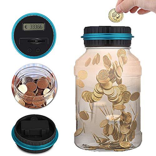 Caesar Archy Digital Münze zählen Geld Glas LCD-Display große Kapazität Geld Sparen Box Geld Banken (Euro) (Banken Münze)