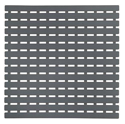Wenko Duscheinlage Arinos Antirutsch-Duschmatte mit Saugnäpfen, Kunststoff, Grau, 54 x 54 x 0.1 cm