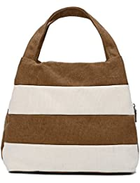 Hiigoo Ladies Handbag Stripes Daily Packages Travel Bag Canvas Bags Shopping Bag Ipad Bag - B01MR3KFJ6
