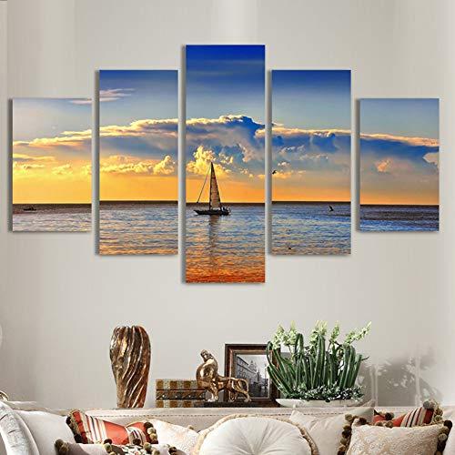 YJHCZC Rahmenlose 5 Gemälde Hd Gedruckt Wandkunst Mit 5 Panel Sky Mountains Landschaft Moderne Leinwandbilder Für Wohnzimmer Wohnkultur Malerei Poster -