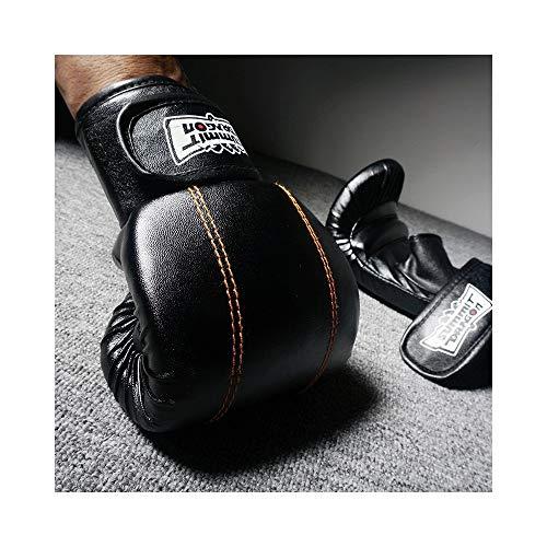 Ywlanlantrading Handschuh Erwachsene Sanda Handschuhe Half Finger Boxing Gelbe Linie Dew Thumbs Punch Bag Handschuhe (Color : Black+Yellow, Size : L)