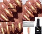 BLUESKY 80503Iced Cappuccino Gold Bronze Shimmer Nagellack-Gel UV-LED-Soak Off 10ml plus 2LuvliNail Shine Tücher