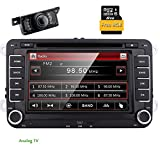 Eincar 7 Zoll Doppel-DIN-in Autoradio Dash für VW Volkswagen Golf 5 6 POLO JETTA TOURAN EOS PASSAT CC TIGUAN SHARAN SCIROCCO Caddy mit DVD-Player Multifunktions-Support-System GPS-Navigation USB-Sd FM Radio AM RDS Bluetooth Lenkradsteuerrückfahrkamera + Analog-TV