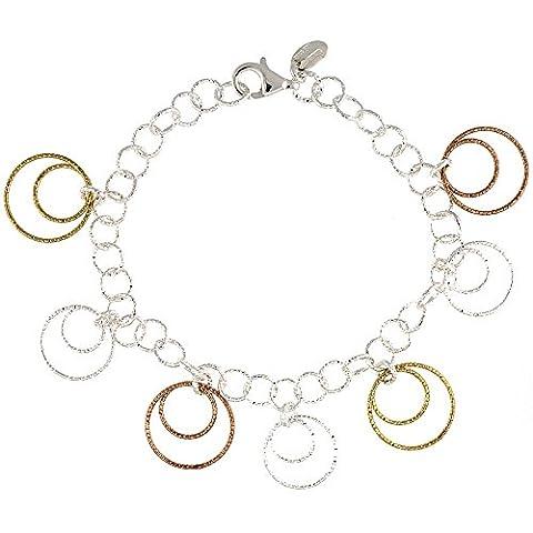 Revoni Sterling Silber Draht Reifen Kreise Diamantschliff 8in. Armband w/Weiß, Gelb & Rose Gold Finish, 7/8in. (22mm) (Fashion Stretchable Armband)