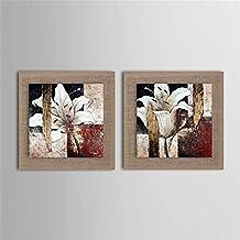 NIHE Pura pintura al óleo de flores pintado a mano moderna de lino decorativo en el cuadro caja de madera (2pcs) , 50x50x2p