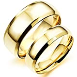 Asma Fashion Ahead His & Hers Plain Golden Stainless Steel Men Women Couple Wedding Ring Engagement Band