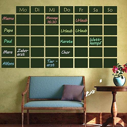 denoda Tafelfolie - Wochenplan - Wandtattoo Schwarz 47 x 25 cm (Wandsticker Wanddekoration Wohndeko Wohnzimmer Kinderzimmer Schlafzimmer Wand Aufkleber)