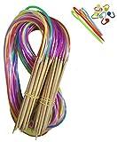 Tmade 18 Paires 80cm Aiguilles à Tricoter Circulaires en Carbonisé bambou à double...