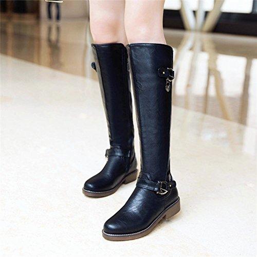 MissSaSa Donna Stivali col Tacco Basso Elegante Boots Nero