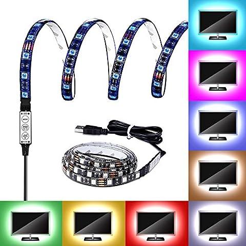 G-i-Mall USB LED Streifen Leiste 100cm 5050 RGB LED Lichtleiste Kit Band Lichter Wasserdicht für Notebook Laptop PC TV Hintergrund Beleuchtung LED Strip mit USB Kabel, 60 LEDs