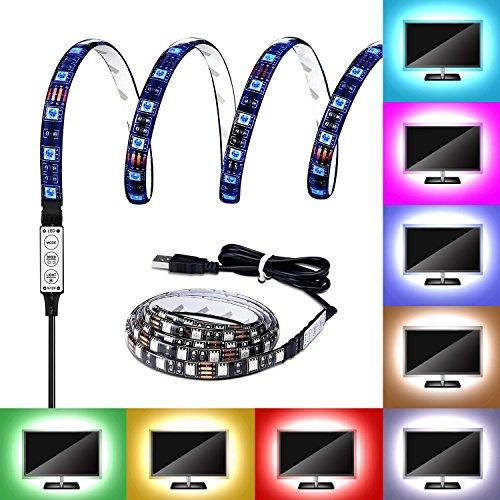 Externen Laptop-netzteil (G-i-Mall USB LED Streifen Leiste 100cm 5050 RGB LED Lichtleiste Kit Band Lichter Wasserdicht für Notebook Laptop PC TV Hintergrund Beleuchtung LED Strip mit USB Kabel, 60 LEDs)