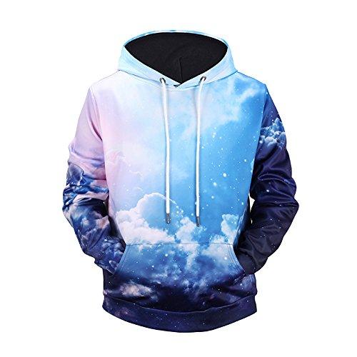 WEIYIGE 3D Sweatshirt Hoodie 3D Digital Print Langarm Grün Runde Kragen Pullover Mit Kapuze Tasche Herren Pullover Nebel Muster, L -