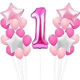 Zcoins Alles Gute zum Geburtstag Mädchen Party Dekoration Set große Nummer Folienballon 1, 30pcs später Ballons Deko, 4pcs Sterne Folie Ballons Pink White
