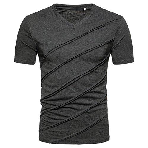 Tops Herren, FEITONG Herren Slim Fit Shirt Männer Einfarbig Kurzarm Casual Shirt Rundhals Tops Sommer Basic Shirts (M, Dunkelgrau)