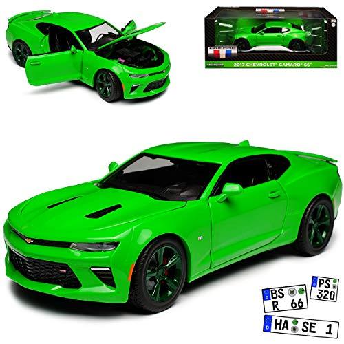 Greenlight Chevrolet Camaro SS Coupe Grün mit grünen Felgen Version 2017 6. Generation Ab 2015 1/24 Modell Auto