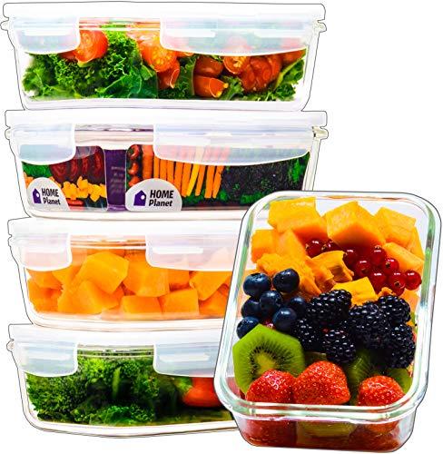 Home Planet® Einzelfach 840ml Glas Frischhaltedosen (5er Set) | BPA Frei Luftdicht klick Lock Deckel | Mikrowelle und Gefrierschrank Dosen | Meal Prep Bento Boxen