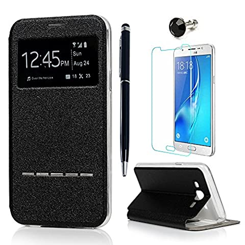 J5 Case Cover ( 2015 Model ) - Lanveni PU Leather View Window Protective Flip Case with Full-Edged TPU Protection Cover [Metal Pop Element] for Samsung Galaxy J5 with 1 Dust Plug + 1 Stylus Pen + 1 Screen Protector( Not for 2st Gen. 2016 Model ) -