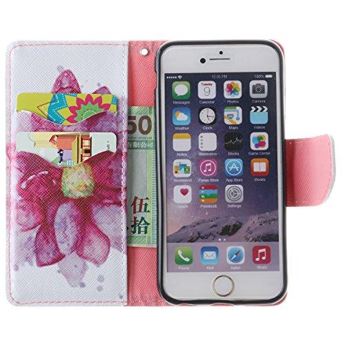 Cozy Hut Custodia iPhone 6 6S (4,7 Zoll) in Pelle, Portafoglio / wallet / libro Flip elegante e di alta qualità con porta carte di credito e banconote Stampa creativa Chiusura Magnetica Protettiva Cov ibisco