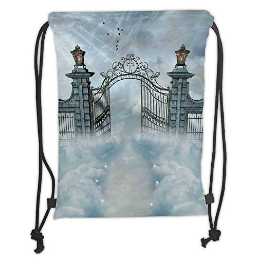 Fashion Printed Drawstring Backpacks Bags,Fantasy House Decor,Fantasy Landscape with open Door Gate of Castle over the Clouds with Princess,Gray Soft Satin,5 Liter Capacity,Adjustable String Closu -