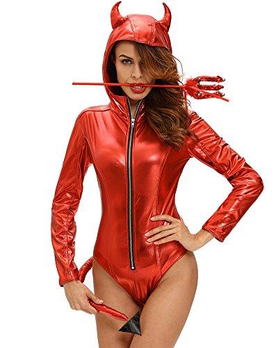 Romacci Damen Halloween Kostüm Dämon Teufel Kapuzen Bodysuit Spielanzug Cosplay Jumpsuit Spielanzug Rot