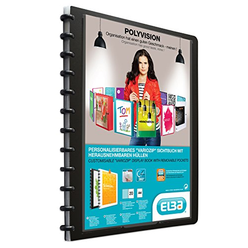 ELBA 100421115 Kunststoff-Ringmappe polyvision 5er Pack DIN A4 mit vario-zipp-Prinzip 20 transparente Hüllen schwarz Sichthüllen-Mappe Ringbuch Ringordner