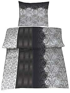 4 teilig hochwertige biber bettw sche schwarz grau silber 100 baumwolle mit rei verschluss. Black Bedroom Furniture Sets. Home Design Ideas