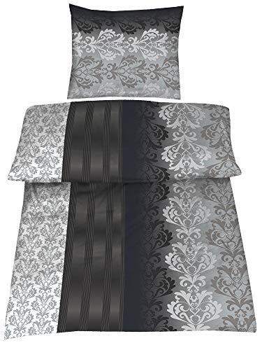4-Teilig Hochwertige Biber Bettwäsche schwarz/grau/silber 100{b623863db11e863971bf1dc9bd0c5147d653d40330ffc6598c40a64463f37ba5} Baumwolle mit Reißverschluss 2x135x200 + 2x80x80 cm