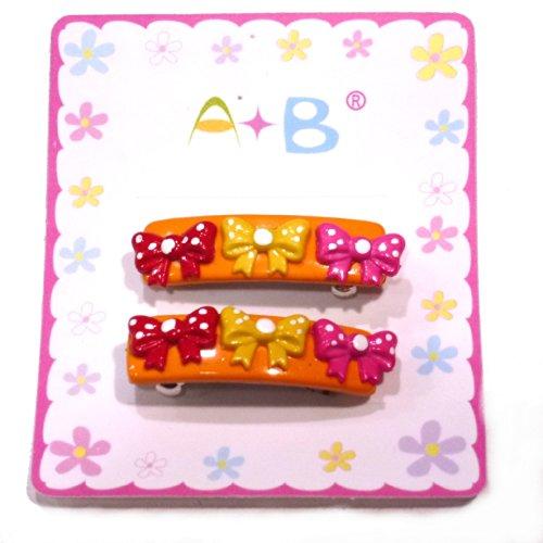 rougecaramel - Accessoires cheveux - Barrette cheveux enfant nœuds 2pcs - orange