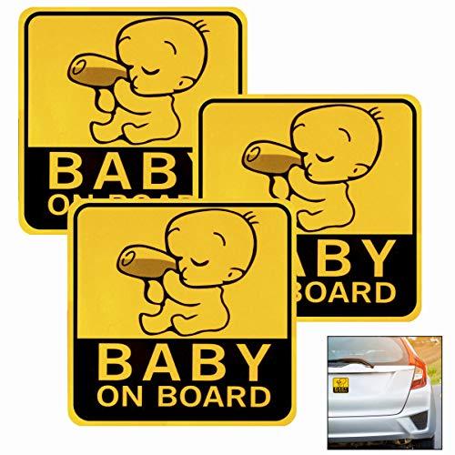 LHKJ 3 Stücke Baby in Car Aufklebe Baby an Bord Magnet Aufkleber Sicherheit Auto Aufkleber-Zeichen Reflektierende für Neue Eltern und Baby