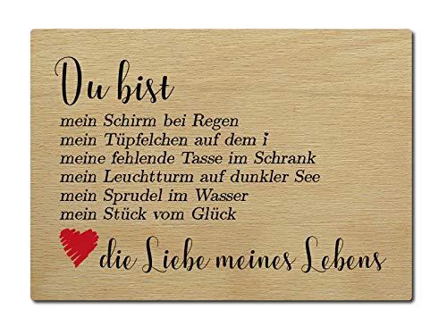 LUXECARDS Postkarte aus Holz DU BIST Mein Schirm Geschenk Spruch