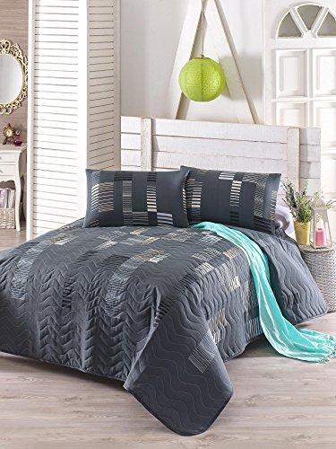 3 PCS Weich Farbigen Schlafzimmer 65% Baumwolle 35% Polyester Doppelte  Gesteppte Tagesdecke Set 100% Faser Füllung Gepolstert/grau Marineblau Blau  ...