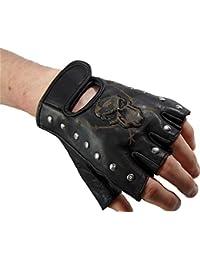 Handschuhe für Biker Fingerlos echt Leder Skull