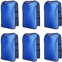 6 X Senston Deportes pinnies adulto Scrimmage chalecos de entrenamiento de fútbol baberos Deep Blue y 3 Tamaño