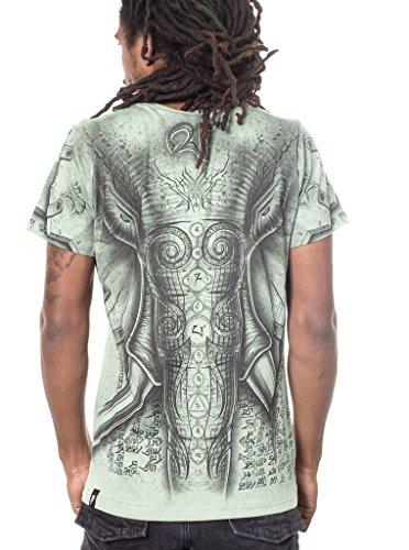 Camiseta Elefante - Ropa de verano con estampado original en algodón 100% de calidad para hombre - Talla M, verde claro