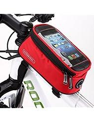 "WayIn® Roswheel Alforja Bolso Bolsa Funda Móvil de Bicicleta Bici Bolso del tubo del frente del marco para teléfono 5.5"" (Rojo)"