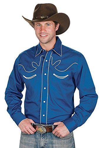 Sunrise Outlet Men's 100% Cotton Retro Western Cowboy Shirt-Royal Blue-3XL
