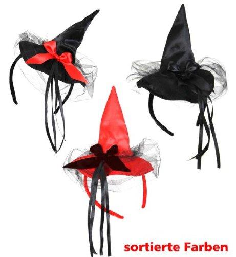 Hexenhut Haarreif Minihut Halloween Hexe mit Tüll und Schleife schwarz/schwarz
