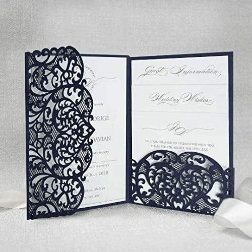 Blu marino apribile taglio laser inviti matrimonio fai da te partecipazioni matrimonio carta con busta - campione prestampato!!