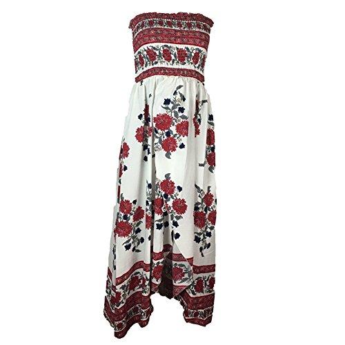 ROPALIA Bohême Robe Floral Imprimé Femme Robe Longue Bustier Elastique sans bretelle A