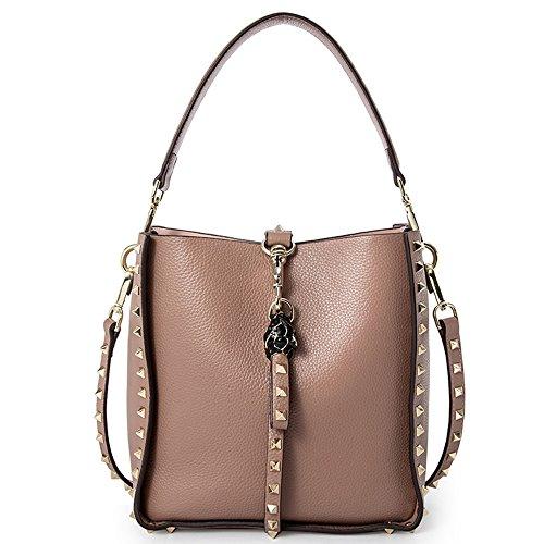 Aus Echtem Leder Eimer Handtasche (Frauen Schultertasche Handtasche Aus Echtem Leder Eimer Mode Lässig Punk Tasche,Pink)