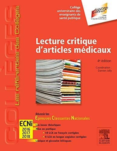 Lecture critique d'articles médicaux : ECNi 2016, 2017, 2018 por Damien Jolly, Collectif